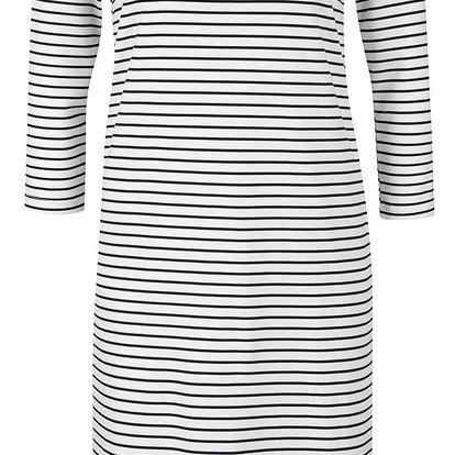 Černo-bílé pruhované šaty s dlouhým rukávem VERO MODA Vigga