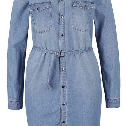 Světle modré džínové košilové šaty s páskem Noisy May Patric