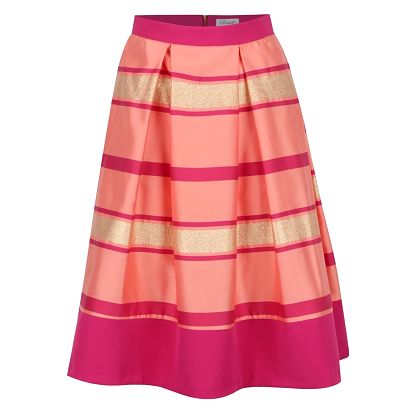 Růžová pruhovaná sukně se zdobením ve zlaté barvě Closet