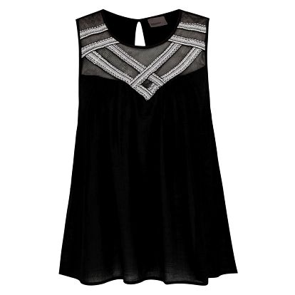 Černý volný top s ozdobnými detaily v dekoltu VERO MODA Tappi