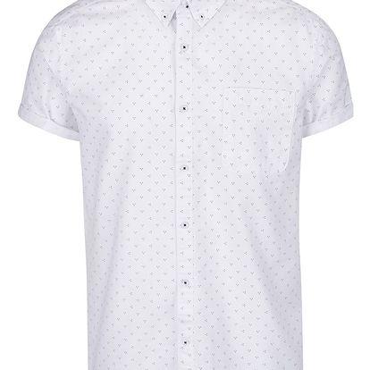 Bílá košile vzorovaná košile s krátkým rukávem Burton Menswear London