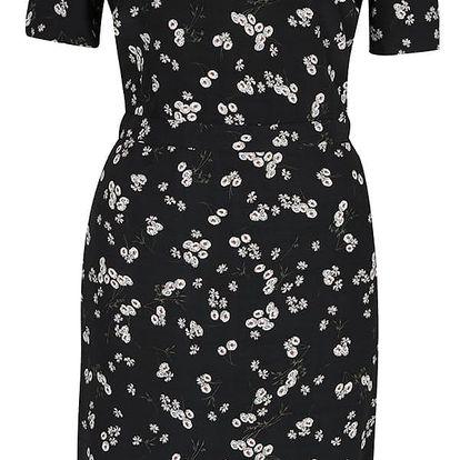 Tmavě modré květinové šaty se stojáčkem Miss Selfridge
