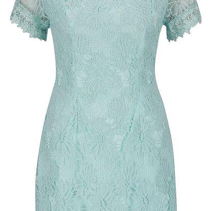 Zelené krajkované šaty s krátkým rukávem AX Paris