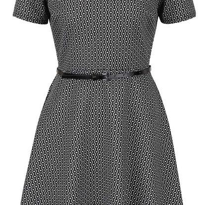 Černé vzorované šaty s páskem Dorothy Perkins Petite