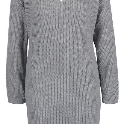 Šedé svetrové šaty se šněrováním na zádech Miss Selfridge