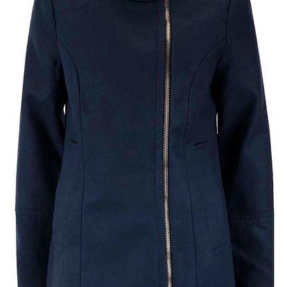 Tmavě modrý kabát se zipem ve zlaté barvě VERO MODA Veraliga