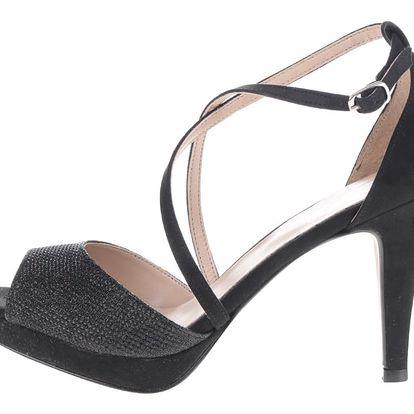Černé třpytivé sandálky na jehlovém podpatku OJJU