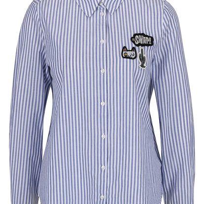 Bílo-modrá pruhovaná košile s barevnými nášivkami VERO MODA Badge