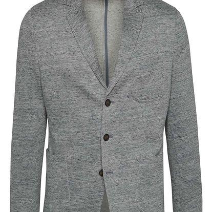 Modro-šedé pánské lněné žíhané sako s.Oliver