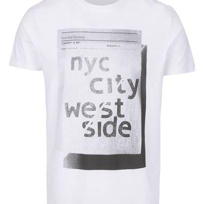 Bílé triko s potiskem Selected Homme Young NYC
