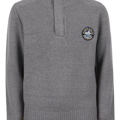 Šedý zimní klučičí svetr na zip ke krku 5.10.15.