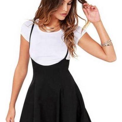 Dámská sukně s ramínky v černé barvě