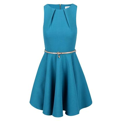 Tyrkysové šaty s béžovým páskem Closet