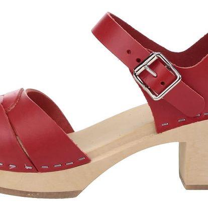 Dřeváky na podpatku s červenými koženými pásky Swedish Hasbeens Peep Toe High