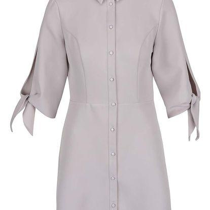 Světle šedé košilové šaty s 3/4 rukávy Miss Selfridge Petites