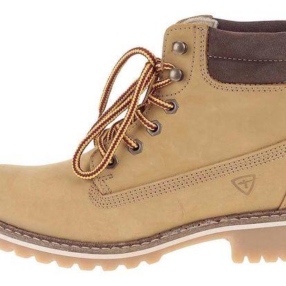 Světle hnědé kožené kotníkové boty Tamaris