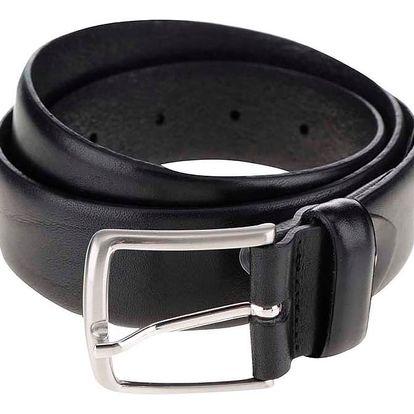 Černý kožený pásek Jack & Jones Domed