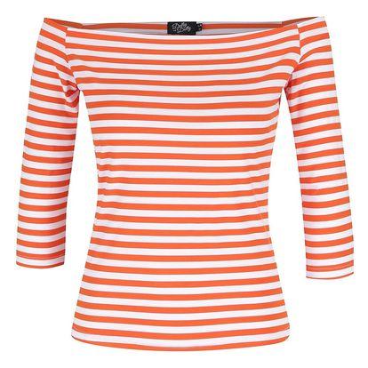 Oranžové pruhované tričko s lodičkovým výstřihem Dolly & Dotty Gloria