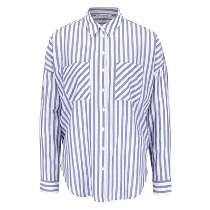 Krémovo-modrá pruhovaná košile s rozparkem na zádech Miss Selfridge