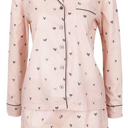 Růžové pyžamo se vzorem srdcí Pieces Wonder