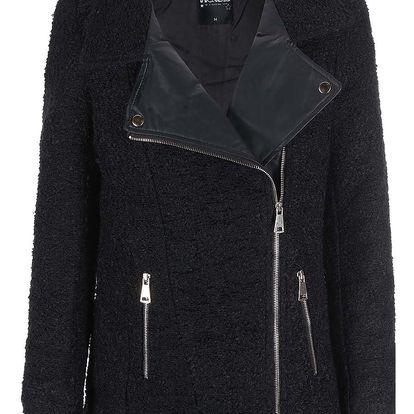 Černý kabát s koženkovými detaily Haily´s Teva