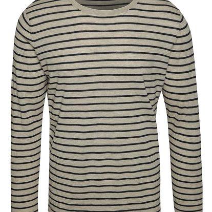 Béžové pruhované triko Selected Homme Emmet