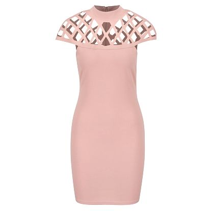 Růžové šaty s průstřihy v dekoltu AX Paris