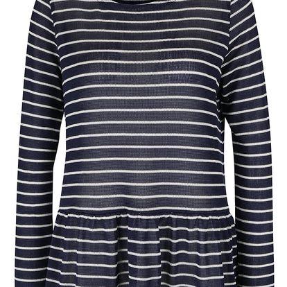 Tmavě modré pruhované tričko s dlouhými rukávy VERO MODA Nana