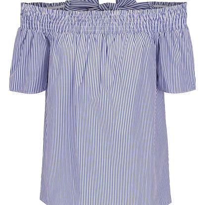 Modrá pruhovaná halenka s mašlí na zádech Dorothy Perkins