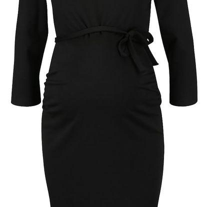 Černé těhotenské šaty s 3/4 rukávy Mama.licious Blackie