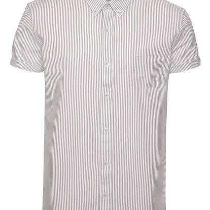 Bílo-vínová pruhovaná košile s krátkým rukávem Burton Menswear London
