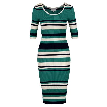 Modro-zelené pruhovanné svetrové šaty Apricot