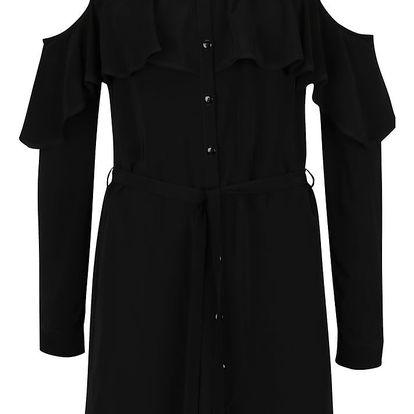 Černé košilové šaty s průstřihy na ramenou Miss Selfridge