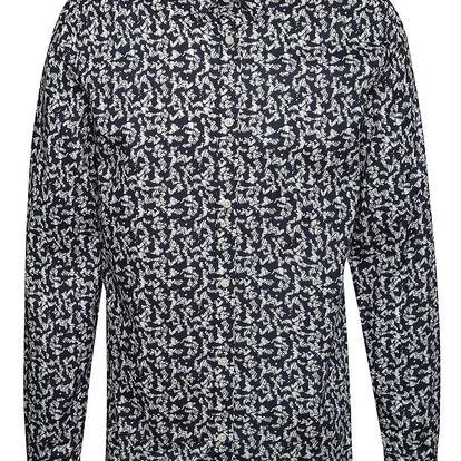 Krémovo-modrá vzorovaná košile Jack & Jones Martin