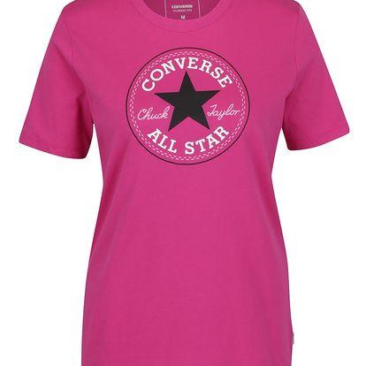 Tmavě růžové dámské tričko s potiskem Converse Core