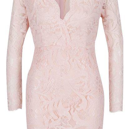 Růžové krajkové šaty s 3/4 rukávem AX Paris