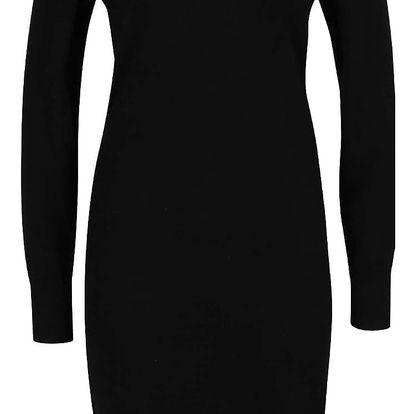 Černé svetrové šaty s odhalenými rameny VERO MODA Vicky