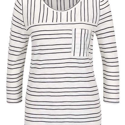Bílé dámské pruhované tričko s 3/4 rukávem s.Oliver