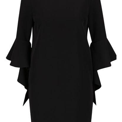 Černé šaty s volány na rukávech Miss Selfridge
