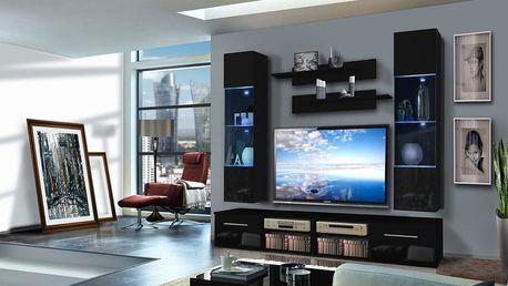 Obývací stěna INVENTO F2, černá matná/černý lesk
