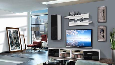 Obývací stěna INVENTO A1, bílá matná/černý lesk