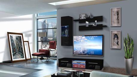 Obývací stěna DRADA C1, černá matná/černý lesk
