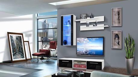 Obývací stěna COVER G1, bílá matná/černý lesk