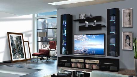 Obývací stěna INVENTO E2, černá matná/černý lesk