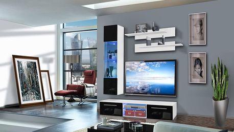 Obývací stěna DRADA F1, bílá matná/černý lesk