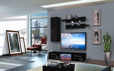 Obývací stěna DRADA A1, černá matná/černý lesk