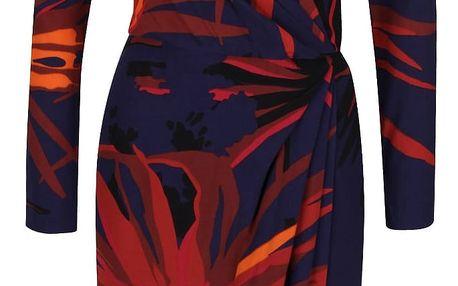 Oranžovo-modré vzorované šaty s překládaným výstřihem Closet