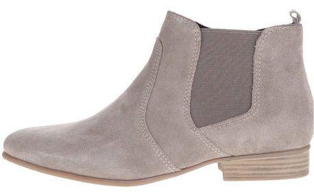 Šedé kotníkové semišové chelsea boty Tamaris