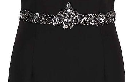 Černé šaty s hlubokým dekoltem a kamínkovým detailem v pase Little Mistress