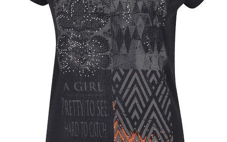Černé tričko s potiskem Rich & Royal